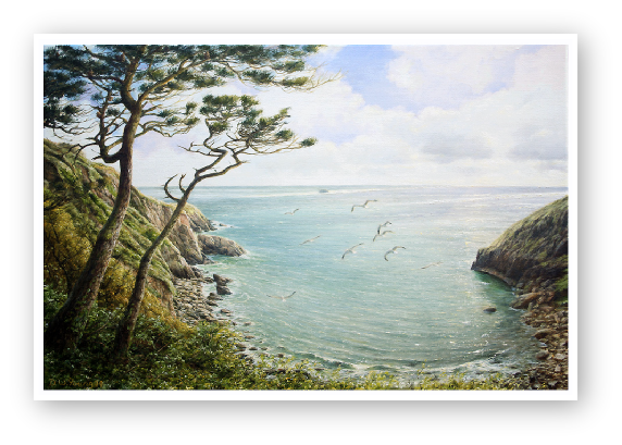 see enlargement of Pudcombe Cove, Coleton Fishacre, South Devon painting